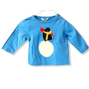Boden Baby | Long Sleeve Penguin Tee (3-6 mos) 🐧